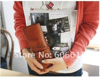 Free shipping wholesale School Retro Leather pencil case  Cosmetic bag Make up bag 12pcs/lot Stationery