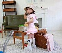 Комплект одежды для девочек Pink baby suit/ Short sleeves top with angel wings+ cakes short dress/ New arriver