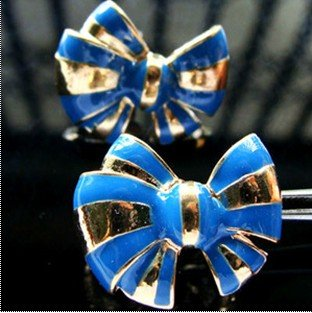 W 20x L17mm Blue Jean And gold Natural Look knot bow Vintage Post Earring.jpg