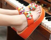 Обувь Girls Bohemian Beaded Slippers Fashion Flat Shoes Beach Slipper Sexy Flip-Flops Sandals # 3505