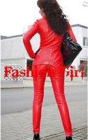 Мода звезды Гага стиль туго ds твердых красный кожезаменитель сексуальные женщины Комбинезоны комбинезон, высоким qualtiy
