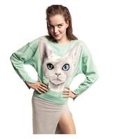 Женские толстовки и Кофты Bling cat pattern print mint green cotton sweatshirt female sweaters cuff zipper notu1074
