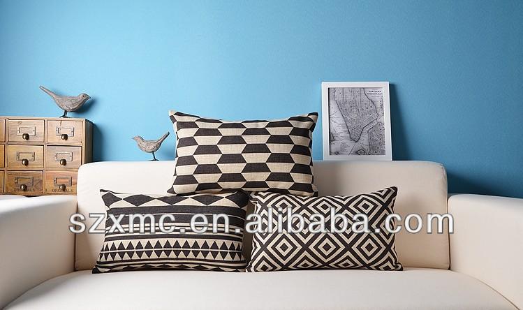 noir et blanc linge housse de coussin d corer pour caf. Black Bedroom Furniture Sets. Home Design Ideas
