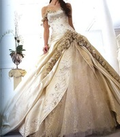 Free shipping Custom Ball Gown Embroidered Off the Shoulder Wedding Dress