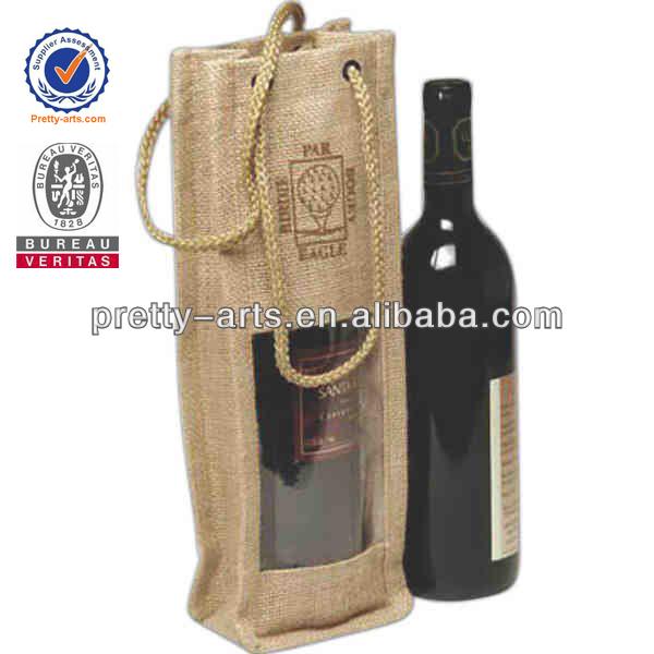 new best sale good quality custom jute wine bottle bag wholesale