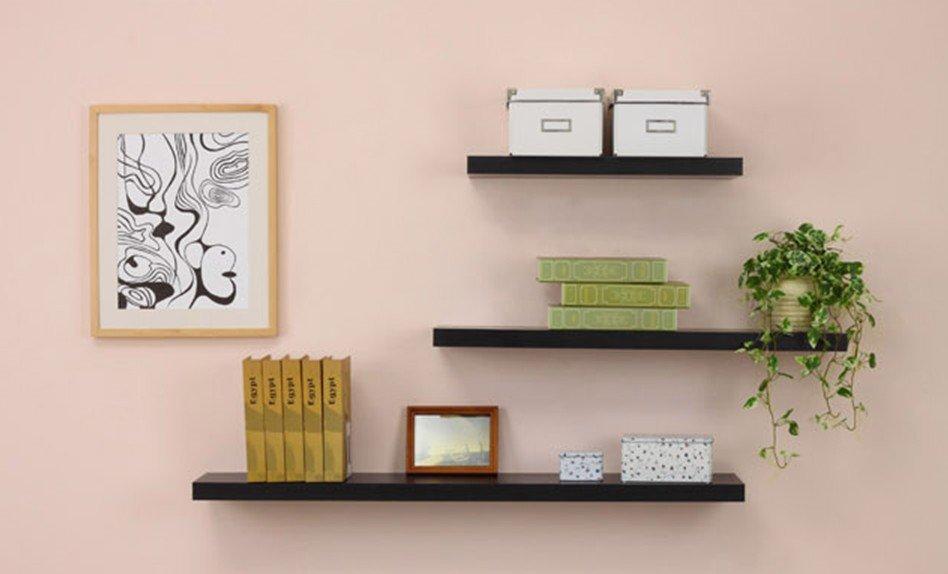 wall mounted shelf with hidden bracket buy floating. Black Bedroom Furniture Sets. Home Design Ideas