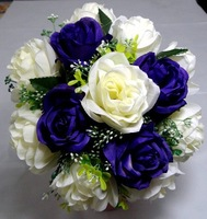 Свадебный букет New! 2013 Bridesmaids Wedding Flowers Bridal Bouquet Purple and Ivory Roses Floral Florist Gifts