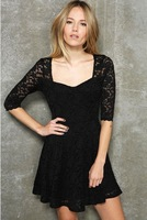 2013 spring fashion slim u lace half sleeve pleated women's one/piece dress multicolor