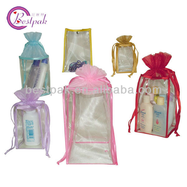 rosette mini drawstring organza bottle bags