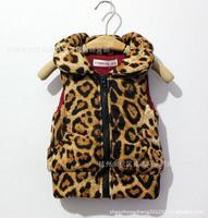 Жилет для девочек KE*O Leopard Cotton padded Children vest Fashion Girl baby Thicken Waistcoat Kids warm Outwear