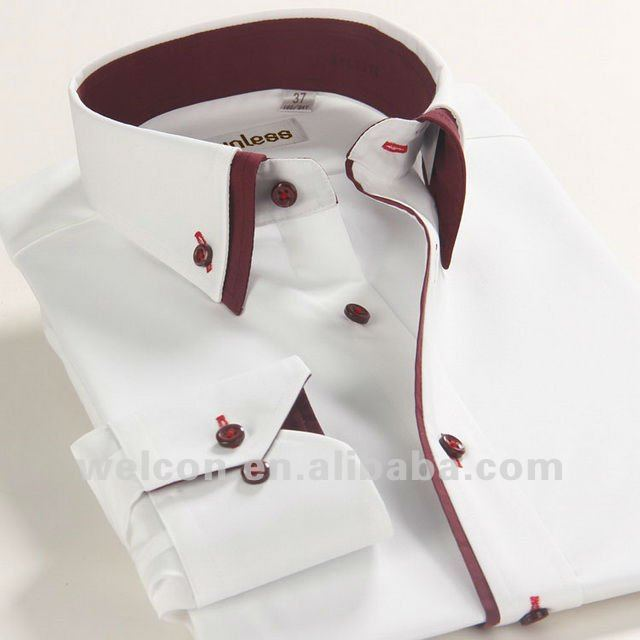 100 cotton long sleeve white italian collar style latest for Italian dress shirts brands