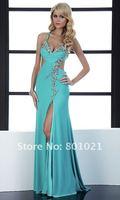 Платье на студенческий бал Front Slit Chiffon Full Length Sexy Open Back Prom Dresses