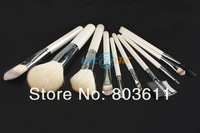 New 10pcs Makeup Cosmetic Brushes Set With White Leather Case