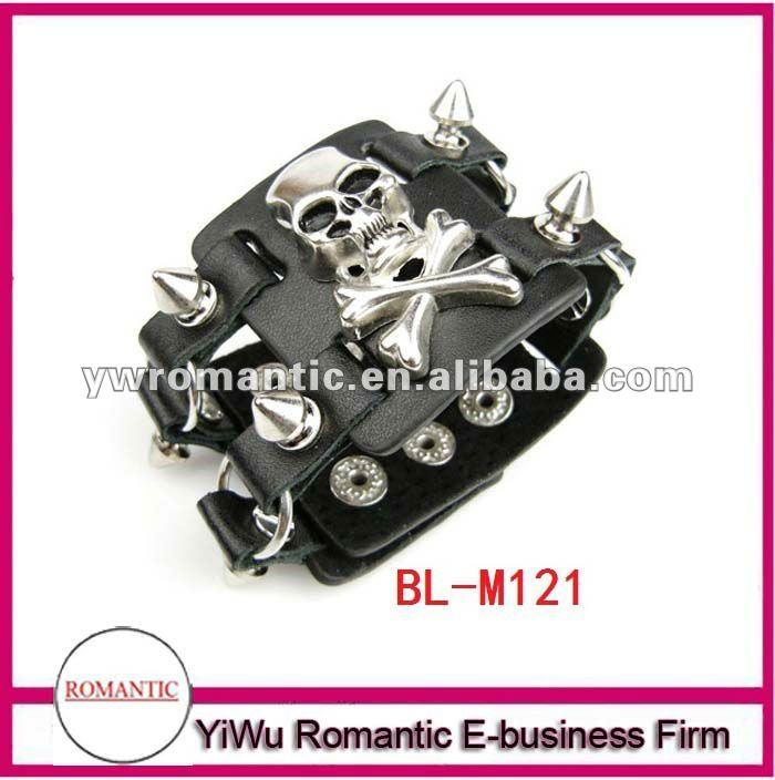 high quality leather skull bracelets for men