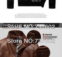 Мужская ветровка 2013 New design men's brand classic warm leather jackets/coats, casual outerwear coat for men size M~XXXL, 1 pcs