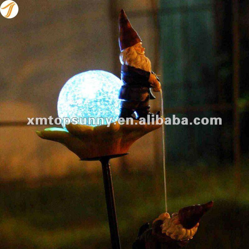 Polyresin Gnomes Solar Garden Decorative Stake Light