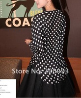 Fashion Brand Women's Ladies Casual Round-neck Long Sleeve Dot Pattern Black Blouse Shirt New with tag Free Shipping SX8234