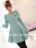 han women's fashion bowknot double breasted fur coat