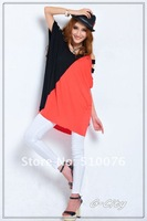 Free Shipping Summer Promotion Luck Beautiful Fashion Dew Shoulder Design Loose T-Shirt Black Red Quality Guarantee