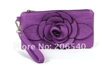 Free/drop shipping flower faux leather clutch wallet wristlet purse hand bag handbag Lady Women new