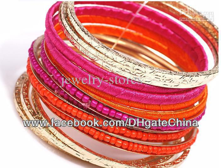 Colorful beads ribbon metal mash Value bracelet 13 pcs lot