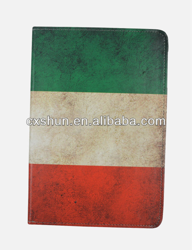 Factory direct sales leather case with Brazil flag for ipad mini case