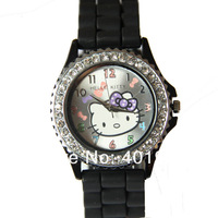 Наручные часы EMS 10 PCS / lot 8 Colours Hello kitty Jelly Silicone Lady Girl Wristwatch crystal watches