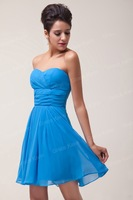 Новая мода возлюбленной Грейс Карин короткие шифон коктейль и партии платье, синий cl6053