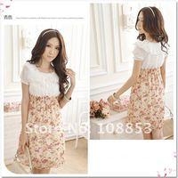 летом и весной Дамы платье, платье женщин, цветочные шифона платье, красный и фиолетовый цветок