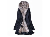 Женские пуховики, Куртки Fur lining women's fur coats winter warm long coat