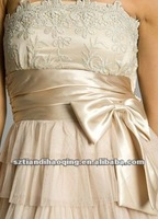 Appliqued design tiered tulle short/mini skirt with sash cocktail dress