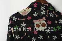 Новый мультфильм кости цветок печатных новизна чисто блузка Топ рубашка весна лето уличной моды женской одежды