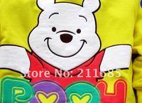 Футболка для девочки 4pcs/lot baby girls/boys bear cartoon T-shirts 6 colors 4 sizes Cotton Tees