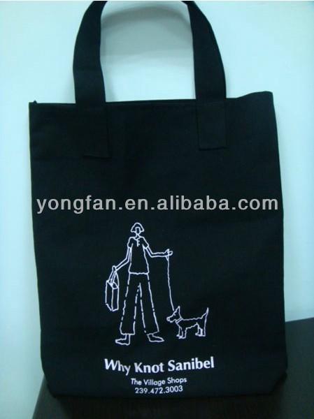 Fashion plain black cotton canvas tote bag