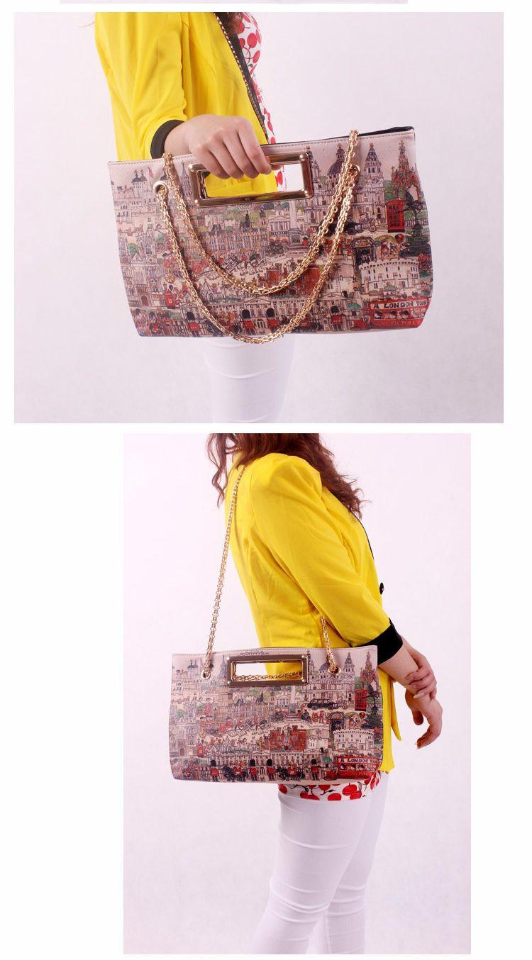 New 2014 Women Leather Messenger Bags Graffiti Canvas Lady  Bag