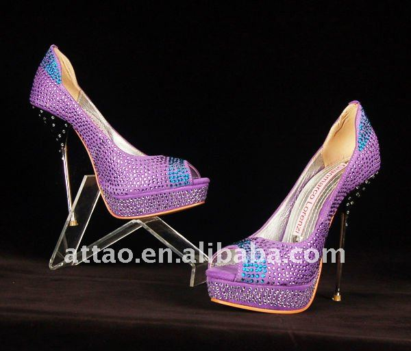 Purple crystal heels metal heels crystal wedding shoes products