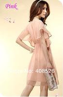 Мода для женщин леди короткий рукав круглый вырез шифон платье рулон волны спинов падение судоходство 3568