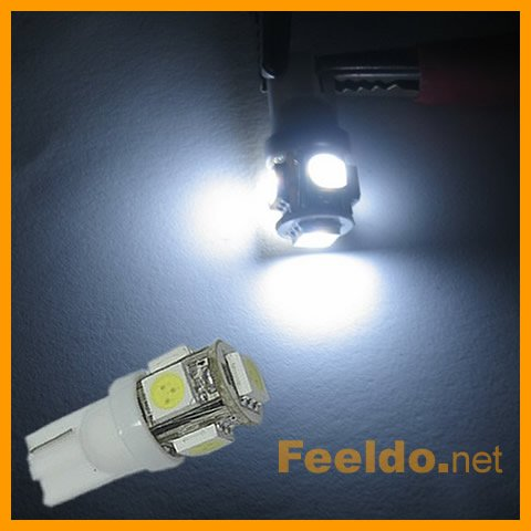 T10 194 168 W5W 5-SMD High Power LED Light Bulb (#989)