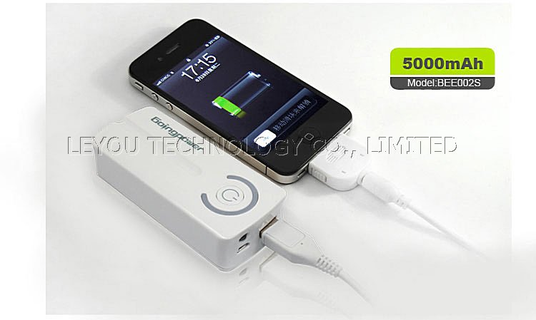 Brand New Green 5000mAh USB Power Bank External Battery Charger for iPhone/ iPad/ iPod/ Multiple Cell Phones and Mobile Devices