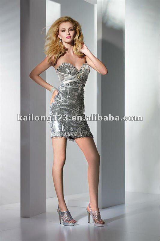 Beautiful Sweetheart Sheath Short Silver Sequins Charmeuse
