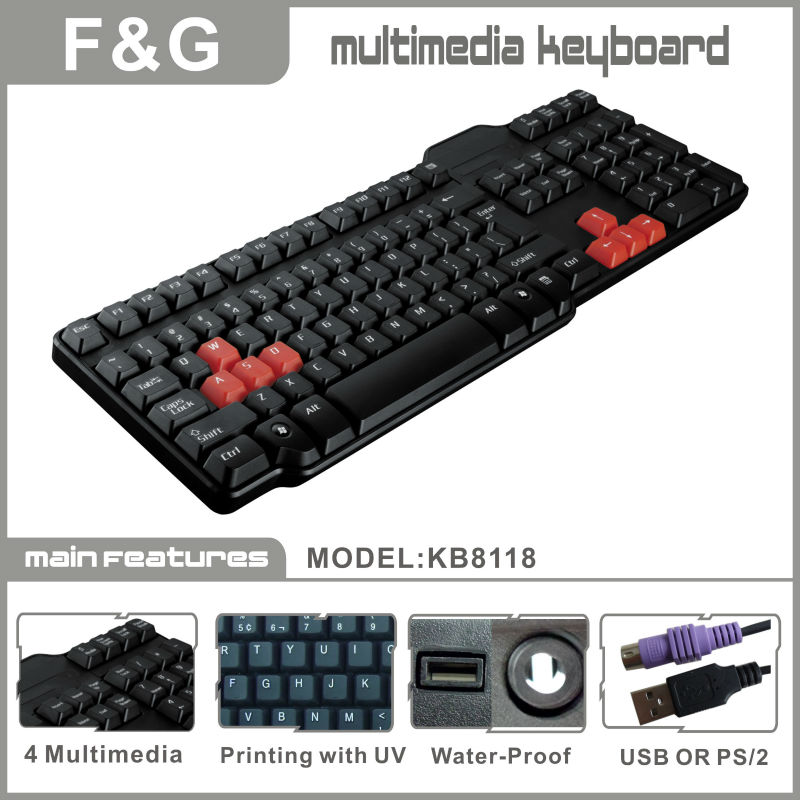 KB8118 hot selling multimedia keyboard with fashion design