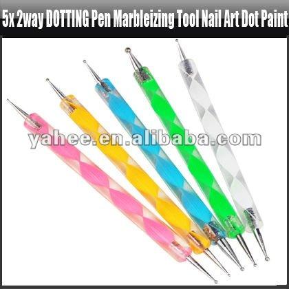 5x 2way Dotting Pen Marbleizing Tool Nail Art Dot Paint,YFK366A