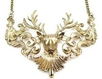 Free Shipping! Wholesale high fashion vintage alloy reindeer deer necklace, Christmas Gift, fashion jewelry ...