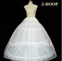 Free shipping: 3 Hoops white bridal petticoat with lace edge