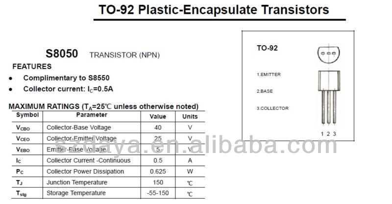 S8050 transistor datasheet