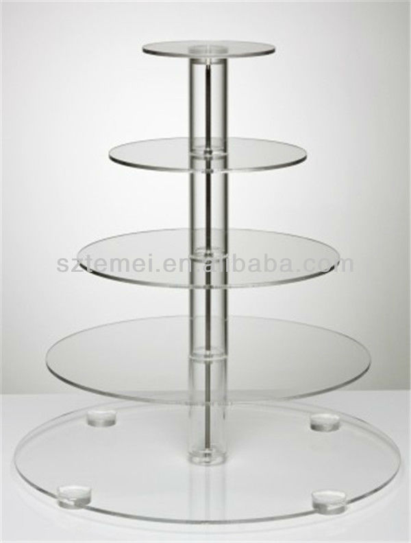 Crystal clear acrylic round design tiered wedding cupcake stand