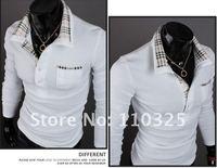 Free shipping,2012 new Mens T Shirt +Men's long Sleeve T Shirt slim fit ,Polo shirt ,cotton,3colors ,3sizes,drop shipping MLT20