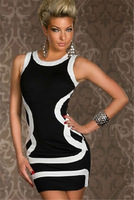 Женское платье Sexy Winter Dress, Fashion underwear basic stripe sleeveless prom laciness sexy hip slim one-piece dress club dreeses
