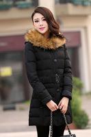 Женские пуховики, Куртки 2013 New Women's Down Jacket Women Large Raccoon Fur Thickening Medium-long Winter Jacket Coat Plus Size S-XL