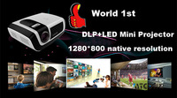 Full HD Native1280*800 Highest Brightness DLP LED Multimedia Video Projector 2000:1 contrast Ratio Projection 150inch screen